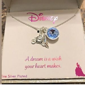 DISNEY Silver Plated Charm Necklace Cinderella NEW